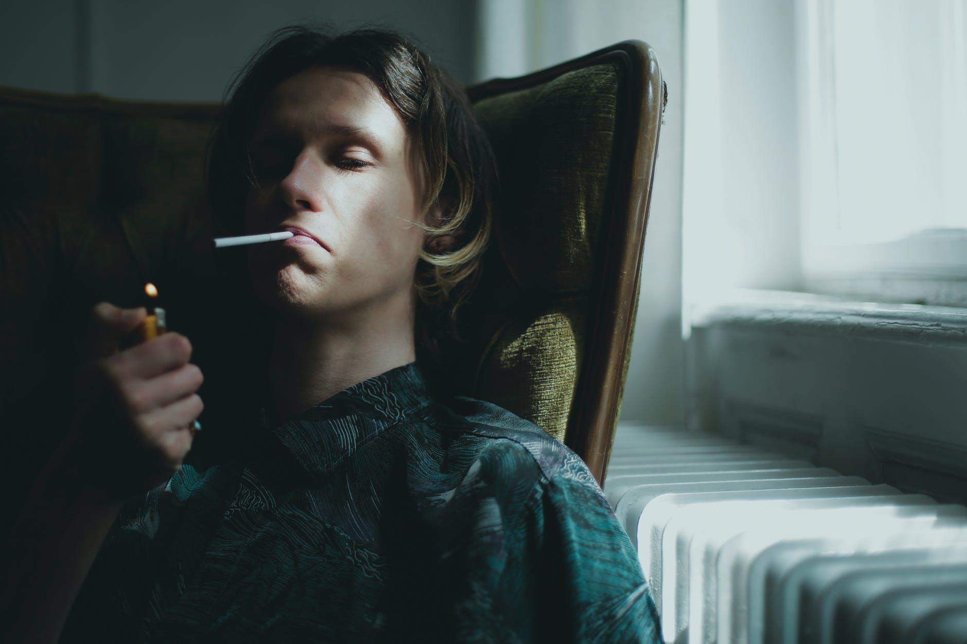 alone man room smoking